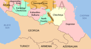 Chechnya's geographic relationship to the Caucasus region.Wiki Comns