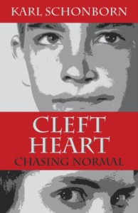 Artful rendition of cover of Schonborn's memoir Cleft Heart.