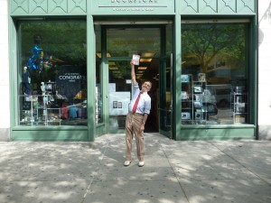 Author Karl Schonborn in front of store for New York City Book Signing