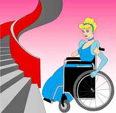 Cindarella in wheelchair at foot of spiral staircase.