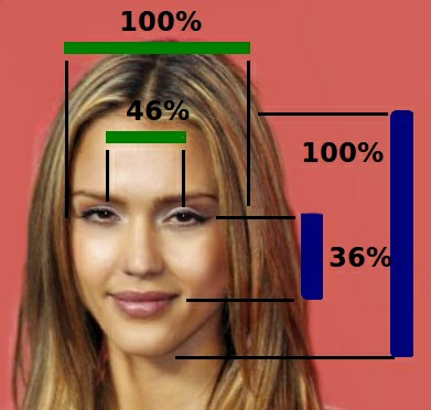 Pretty actress Jessica Alba's Face with marks measuring for symmetry & proportions.