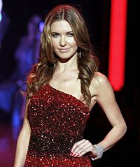 Reality star Audrina Patridge in single shoulder red sequin dress