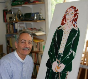 Artist sitting beside life-sized painting of heiress Patty Hearst (painted in greens) in handcuffs.