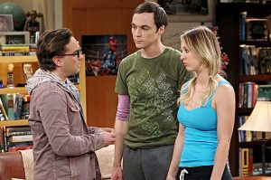 MS shot of Big Bang stars ,Johnny Galecki (villain expert), Jim Parsons, Kaley Cuoco,CBS Bcst