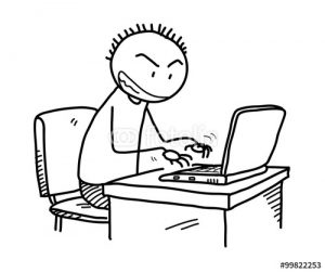 Cartoon of angry guy typing —and cyberbullying—on laptop